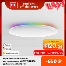 €10 Code 08ESOW10 Yeelight-lámpara de techo inteligente LED con brillo ajustable, luz LED de techo con brillo ajustable, funciona con Google, Amazon, Alexa y Mijia, 450C/550C, nueva