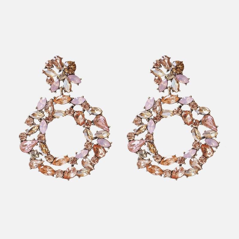 Ztech Korean Sweet Pink Vintage Drop Earring Bling Crystal Long Earring brincos pendientes Wholesale Statement Jewelry Bijoux