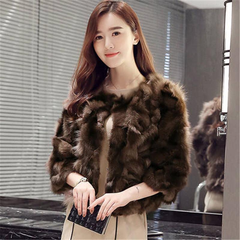 2019 Women Winter New Real Fur Coat Natural Fox Fur Shawl Female Slim Plush Luxury Thick Warm Short Overcoat Abrigo Mujer K350
