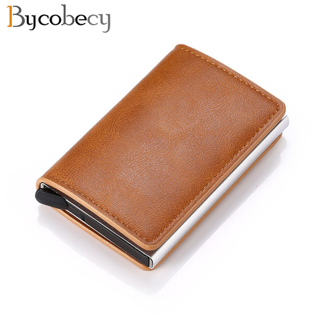Bycobecy Credit Card Holder Wallet Men Women Metal RFID Vintage Aluminium Bag Crazy Horse PU Leather Bank Cardholder Case New 1