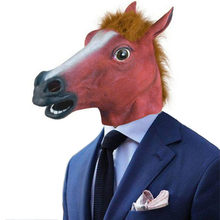 Halloween funny Rave mask accessories жабо frill New Horse Head Mask Latex Prop Style Toys Party free shipping #3(China)