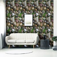 Simulation 3D Plant Stone Wallpaper PVC Removable Wall Sticker Home Decor House Bedroom Sticker DIY Glass Window Decoration