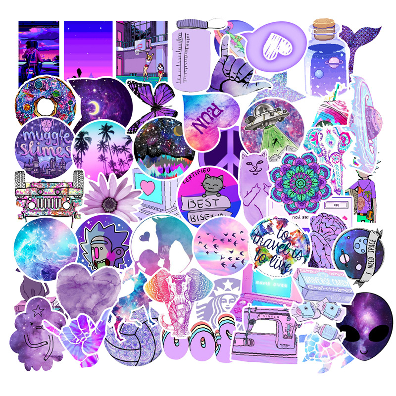 Fashion Cute Cartoon Light Purple Girls PVC Stickers Decor For Car Laptop Pad Phone Trunk Guitar 50 Pieces Computer Sticker