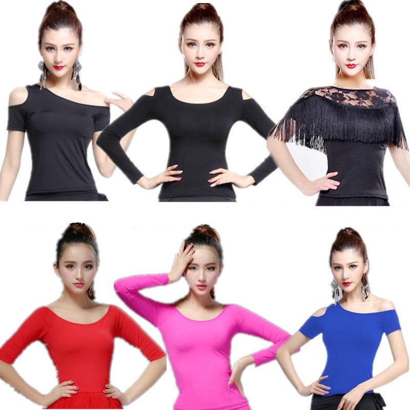 Latin Top Women Latin Dance Basic Top Girl Dancewear Sexy Latin Ballroom Samba Tango Flamengo Dancing Practice T-shirt Costume