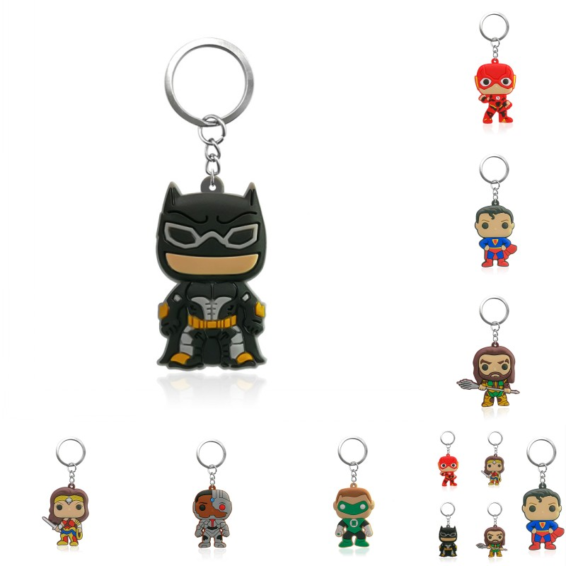 1pcs Justice League 2 Cartoon Figure Pvc Keychain Kids Toy Fashion Charms Trinkets Batman Supperman Supper Hero Key Ring