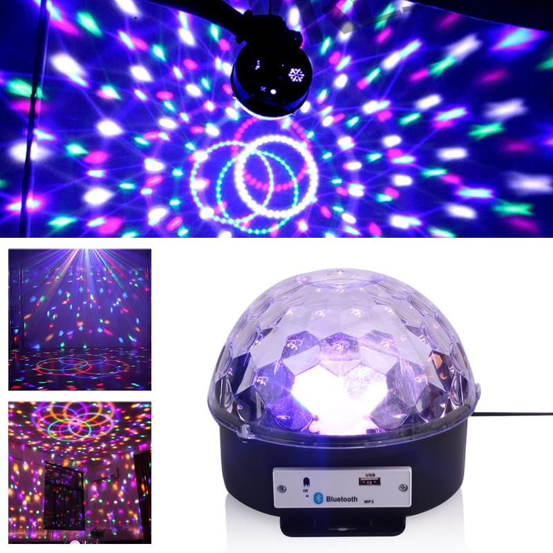 LED Stage Light Crystal Magic Ball Light MP3 Loudspeaker Dj Equipment Laser KTV Bluetooth 4.0 USB Disk Colorful Smart|Stage Lighting Effect| |  - title=