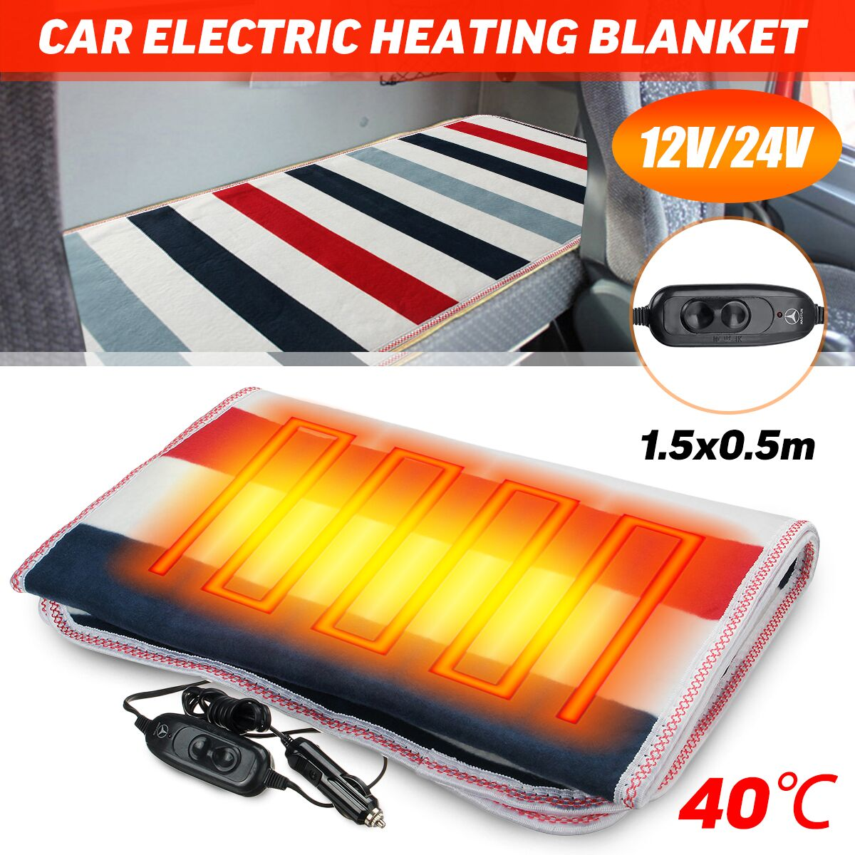 Universal Car Electric Warming Heating Blanket Pads 12V/24V Auto Winter Warm Cushion Home Office Electric Heated Blankets Plush