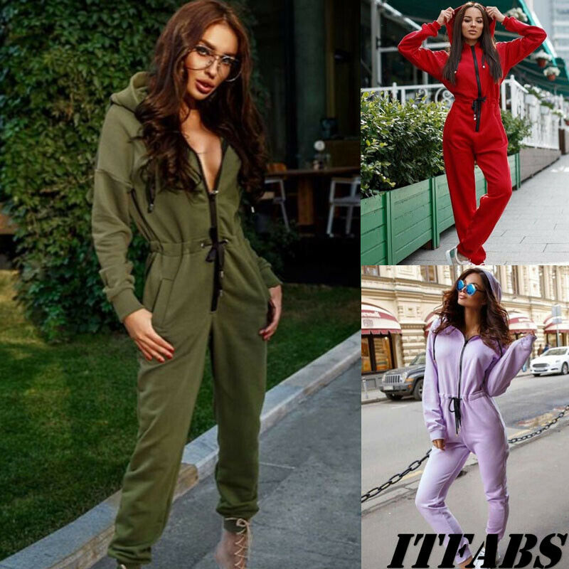 New Autumn Winter Women Sport Casual Long Sleeve Hooded Zipper Pockets Solid Color Drawstring Jumpsuits Tracksuit