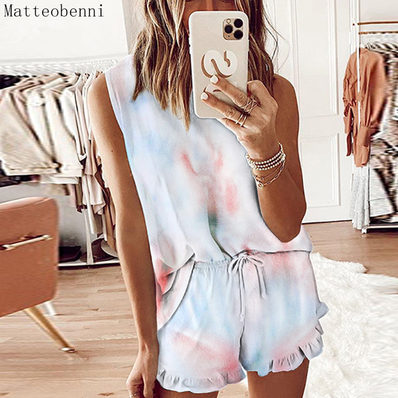 Two Piece Set Women Tie Dye Print Vest Crop Tops shorts Suits Tracksuit Casual 2 piece Outfits Summer matching sets Lounge Wear|Women's Sets| - AliExpress