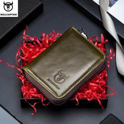 BULLCAPTAIN Business Women Card Holder Cards Men Card Pack Real Leather CardHolder Zipper Credit Card Wallet Women/man KB 05