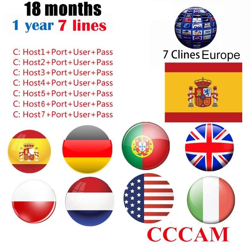 Europe HD 18 Months CCCam Spain Portugal Germany Poland Satellite Tv Receiver 6 Clines For DVB-S2 Gtmedia V7s Freesat V8 SUPER