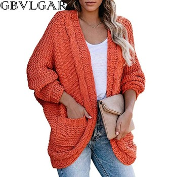 Autumn Winter Women V-neck Black Sweater Long Batwing Sleeve Cardigan Loose Pocket Korean Tops Woman Clothes Sweaters