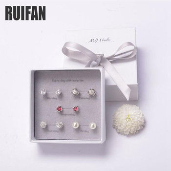 Ruifan una semana 5 par/set pequeño Stud pendientes con la caja de las mujeres de Plata de Ley 925 pendientes con piedra de YJS004