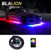 Kit de luces de Chasis de coche, lámpara de neón de 12V, luz LED de Ambiente, Control de sonido, aplicación RGB, tiras flexibles
