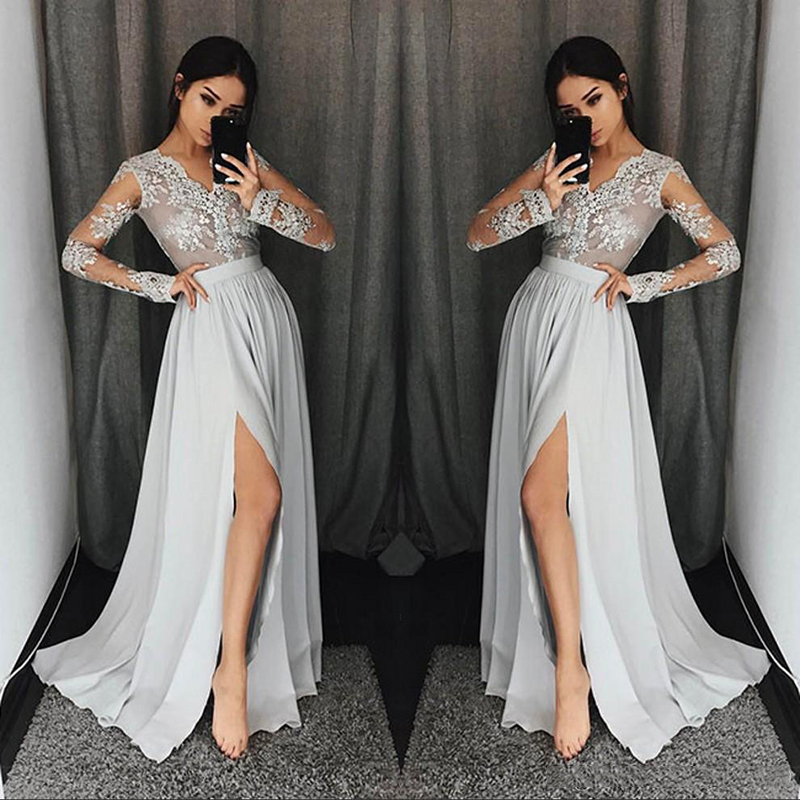 Bridemaid Dress V-neck Illusion Lace Appliques With Spilt Floor-length Sexy For Wedding Party Dresses 2020 New Fashion