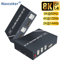 2021 Best 8K KVM DP Switch Dual Monitor 2 In 1 Out Displayport KVM Switch 2 Port 4K 60Hz KVM Switch Share Printer Keyboard Mouse