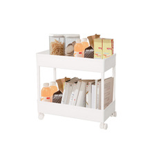 BAOYOUNI 2 Tier Plastic Slim Trolley Movable Storage Cart Pull Out Trolley Shelf with Wheels for Kitchen Bathroom White