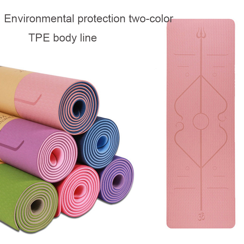 TPE Yoga Mat with Position Line Double-sided non-slip Carpet Mat For Beginner Environmental Fitness Gymnastics Mats 1830*610*6m