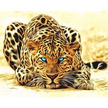 Diy масляной Набор для рисования по номерам Леопардовый холст