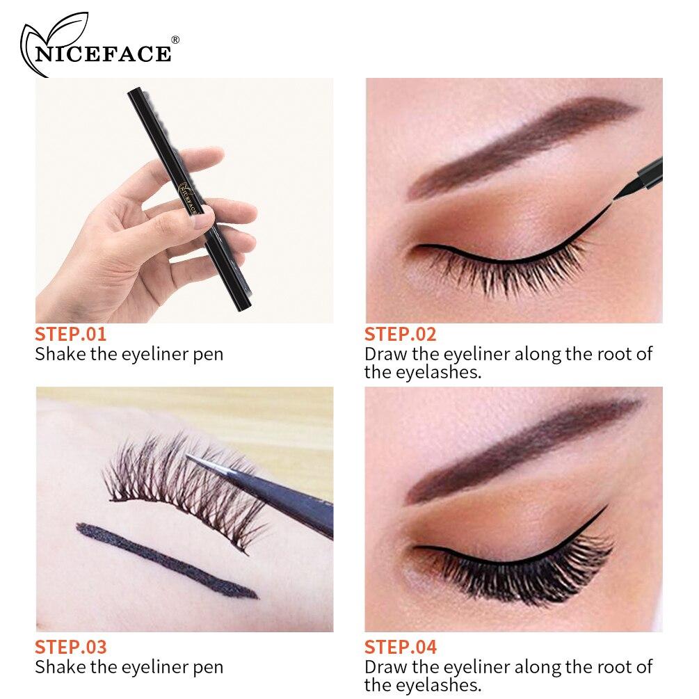 Niceface Self-adhesive Magnetic Liquid Eyeliner Pencil Makeup Magnetic False Eyelashes Glue Black Eye Liner Pen Eyes Cosmetics
