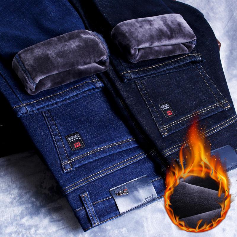 Pants Black Jeans Stretch Denim Trousers Slim-Fit Business Fleece Blue Warm Winter Fashion