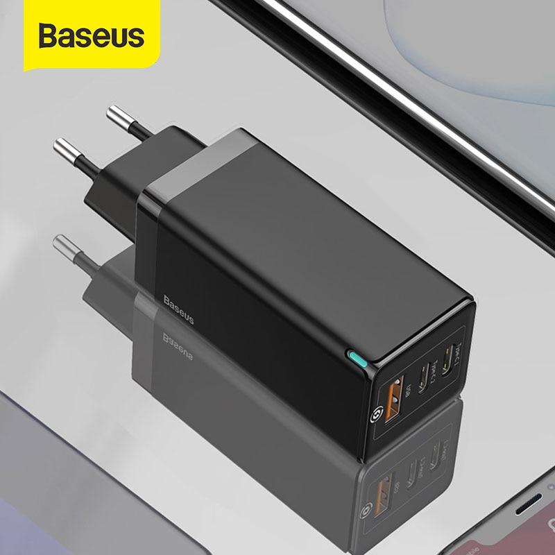 Baseus 65 واط غان شاحن سريع تهمة 4.0 3.0 نوع C PD شاحن سريع 3 ميناء شاحن يو اس بي مع QC 4.0 3.0 شاحن هاتف محمول