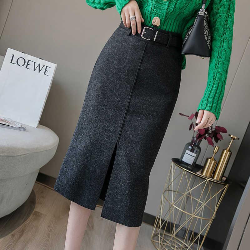 Flectit kobiety wełna ołówek spódnica z paskiem przód podział wysokiej talii Midi długość ciepła spódnica jesienne zimowe damskie stroje *