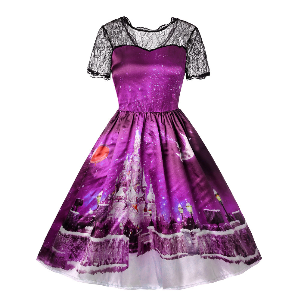 Sleeper #W401 2019 Fashion Dress Christmas Women Short Sleeve Lace Patchwork Printing Vintage Gown Party платье Free Shipping