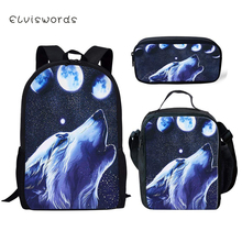 ELVISWORDS Fashion Childrens Backpack Wolf Pattern Toddler School Book Bags Cartoon Animal Printing Womens Travel Backpacks