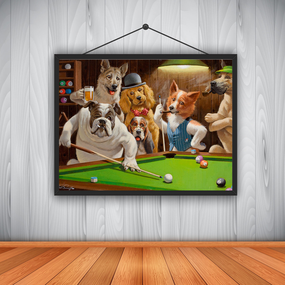 Modern High Definition Canvas Printing Dog Playing Billiards God Snooker Oil Painting Art Home Decoration Poster On Canvas Wall