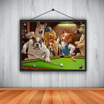 Moderne High Definition Leinwand Druck Hund Spielen Billard Gott Snooker Ölgemälde Art Home Dekoration Poster auf Leinwand Wand