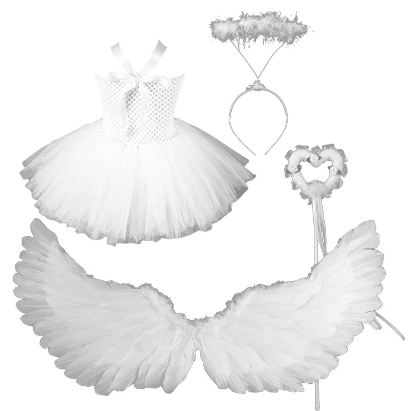 Children Baby Girls Angel Cosplay Costume Set White Tutu Dress Feather Wings Headband Wand Kids Holiday Role Play Party Wear Set