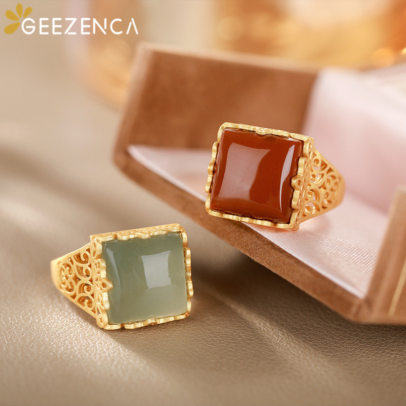 925 Sterling Silver Gold-plated Gemstones Ring Hetian Jade Agate Geometric Square Open Ring Fine Jewelry Women Vintage Trendy