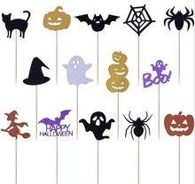 14 Uds. De dibujos animados para Halloween, decoración para cupcakes, tartas, banderas para ocasión familiar, adorno para pasteles de fiesta