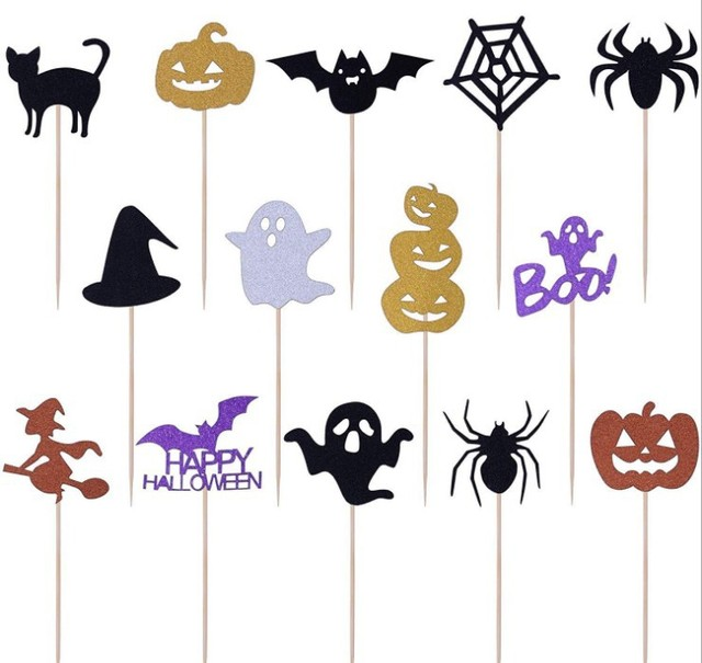 14pcs Cartoon Halloween Cupcake Cake Topper Cakes Top Flags for Family Occasion Party Baking Decoration Supplies