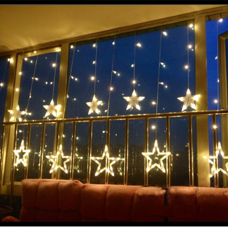 Waterproof LED String Lights Star Curtain Light Fairy Wedding Birthday Christmas Lighting Indoor Outdoor Holiday Home Decoration Light 110V 220V 138 Leds 2mx0.75m Warm White