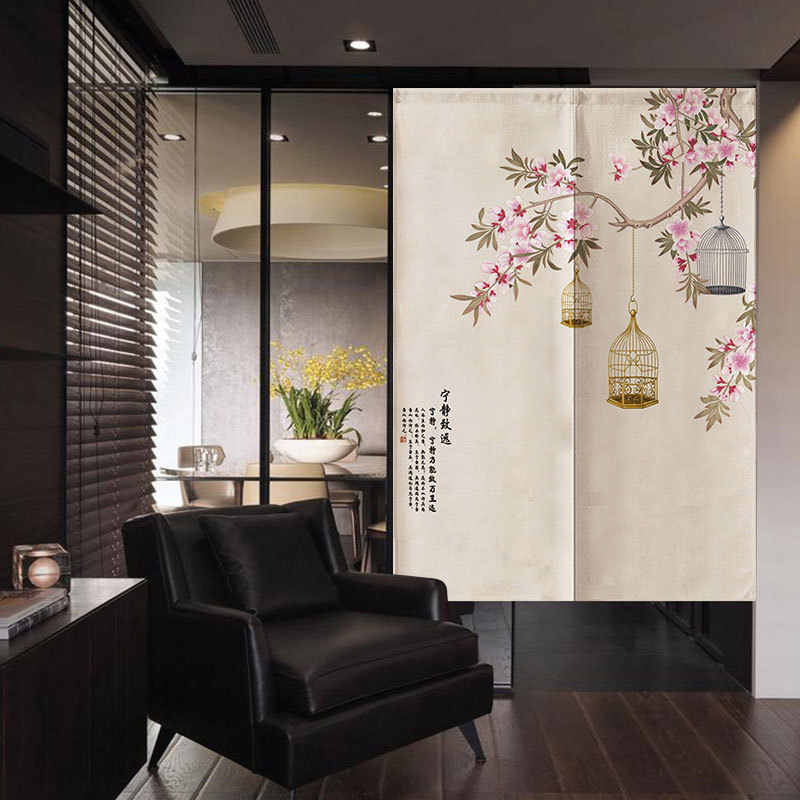 chinese flower and bird door curtain bedroom decoration curtain bathroom kitchen partition curtain feng shui curtain noren