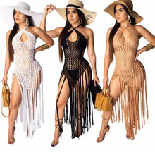 Tassel Cover Up Beach Woman Crochet Robe De Plage Sexy Mesh Swimsuit Skirt Hollow Swimwear Cover Ups Women Fashionable Pareos все цены