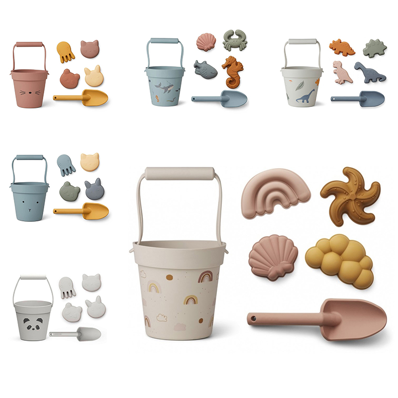 Children Summer Toys with Cute Animal Model Ins Seaside Beach Toys Rubber Dune Sand Mold Tools Sets Baby Bath Toy Kids Swim Toy