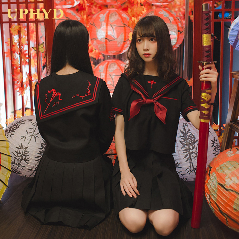 Dark Demon Cosplay Anime School Uniform For Girls Japanese JK Uniforms Black Tops Pleated Skrit Sailor Suits