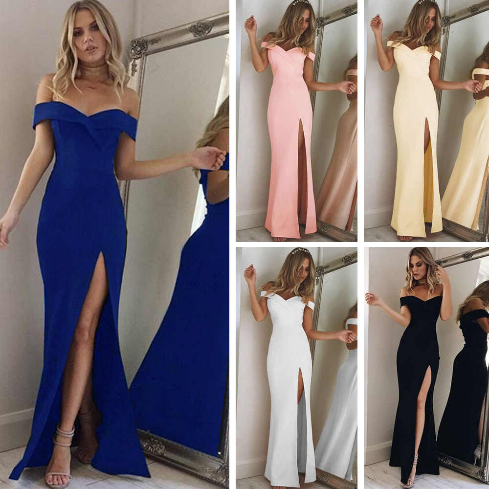 2019 Nieuwe Strapless Schouder Tube Top Dress Party Sexy Vrouwen Slim Stretch Bodycon Elegante Lange Jurken Hoge Split Vestidos
