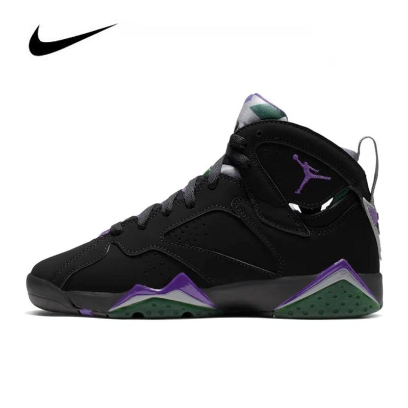 Original Nike Air Jordan 7 Men's Jordan Shoes Basketball Shoes Comfortable Gym Training Boots High Top Ray  Allen (GS) 304774-05
