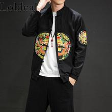 Loldeal Chinese Style Lightweight Jackets Vintage Embroidered Stand Collar Single-breasted Cotton Soft