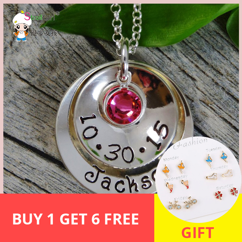 SG 925 Silver Birthstone Pendant Necklace Personalized Hand Stamped Name&Date Customization Collares Ideas Gift for Mothers Day. image
