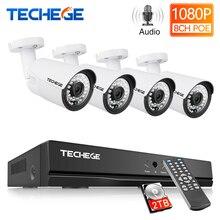 Techege 8CH 1080P POE NVR комплект 2MP 3000TVL PoE IP камера P2P Аудио CCTV система ИК наружного ночного видения комплект видеонаблюдения