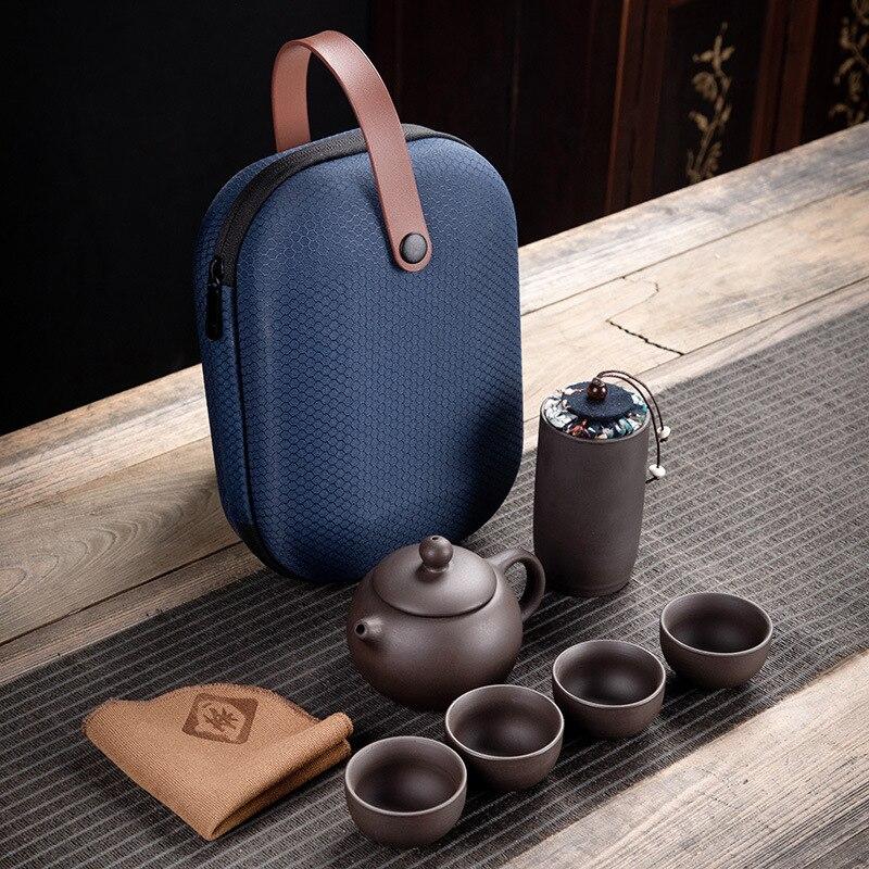 Purple Clay Kung Fu Teapot 230ml Chinese Porcelain Yixing Zisha Tea Pot 4 Cups Kung Fu Travel Tea Cup Handmade Tea Pot Cup Set 2