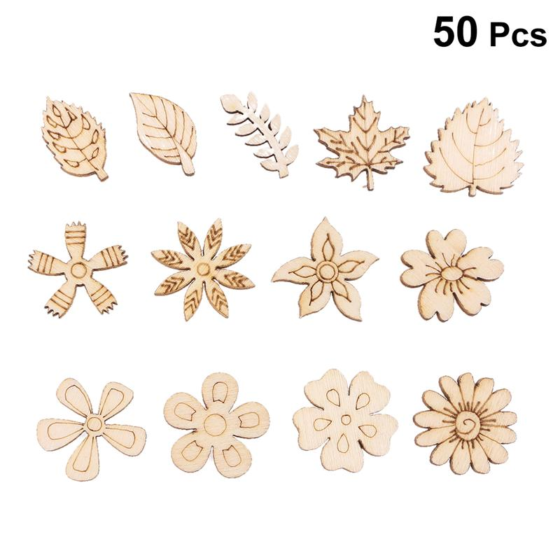50PCS DIY Doodle Educational Toy Flower Leaves Natural Wooden Slice Scrapbooking Embellishments DIY Craft Decor - Random Pattern