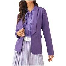 Women Purple Blazers Cardigan Coat 2019 Long Sleeve Women Blazers