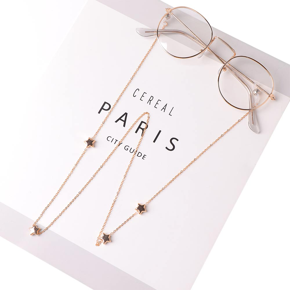 Link Chain Metal Star Glasses Chains Silicone Eyeglasses Cord Sunglasses Chain Necklace Cord Holder Neck Strap Rope Accessories
