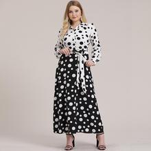 5XL Plus Size Polka Dot Women Dress 2019 Autumn Long Sleeve Print Office Shirt White and Black Lady Maxi Party